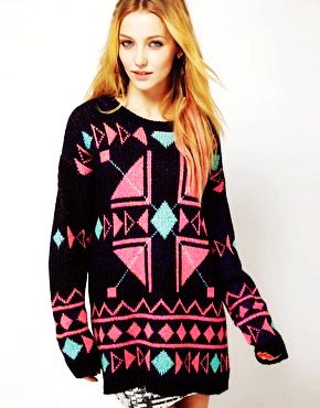 geometric tribal aztec print sweater - christmas tribal aztec print sweater -f20096